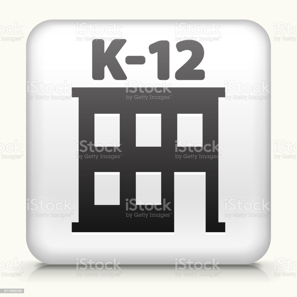 Square Button with K-12 school vector art illustration
