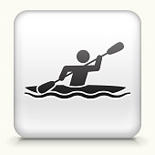 Square Button with Kayak royalty free vector art