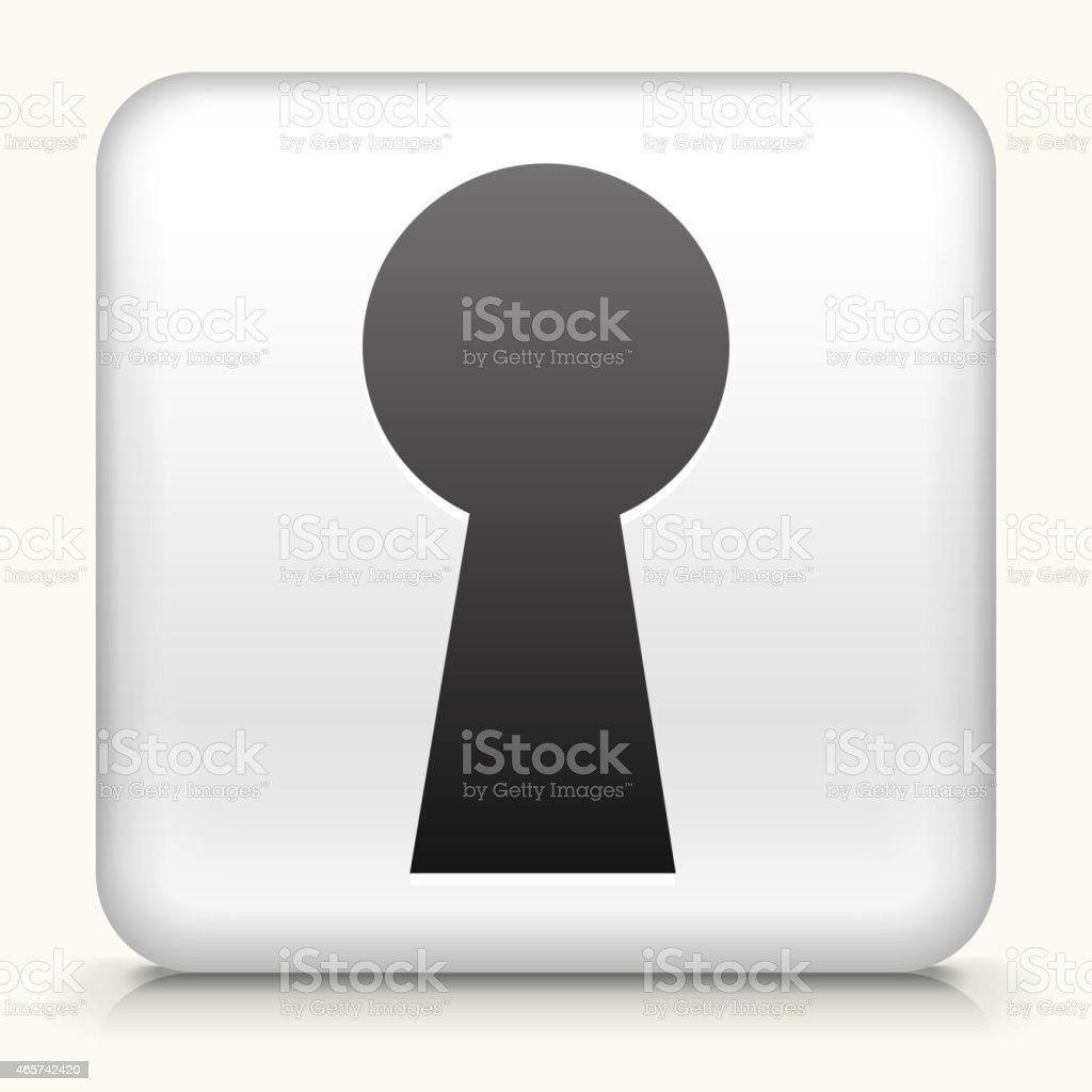 Square Button with Key Hole royalty free vector art vector art illustration