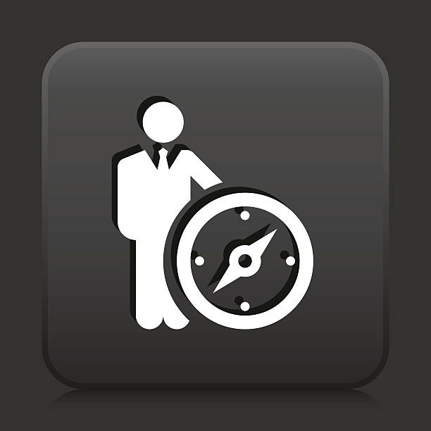 square button with leader vector icon graphic - wayfinding icons stock illustrations, clip art, cartoons, & icons