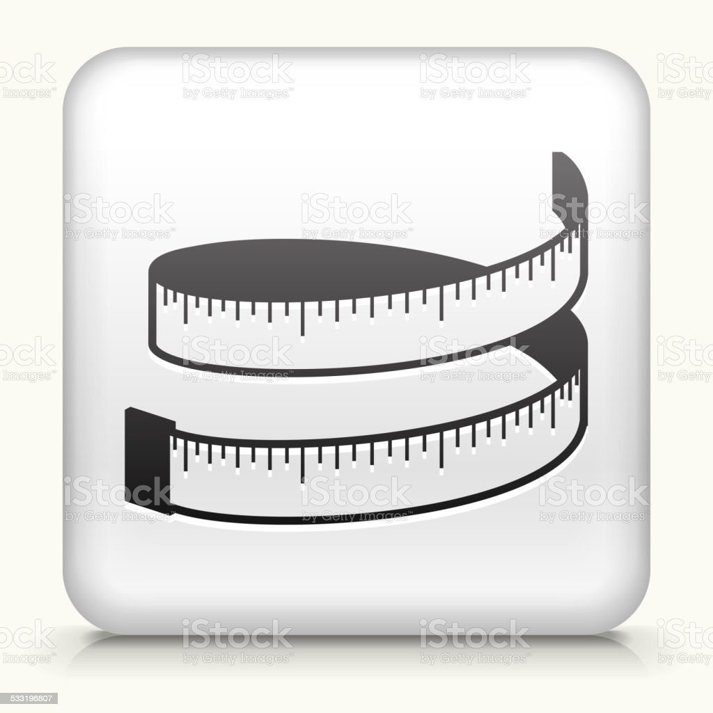 Square Button with Measuring Tape vector art illustration