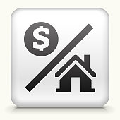 Square Button with Money and Home royalty free vector art