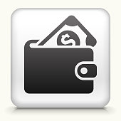 Square Button with Money Wallet royalty free vector art