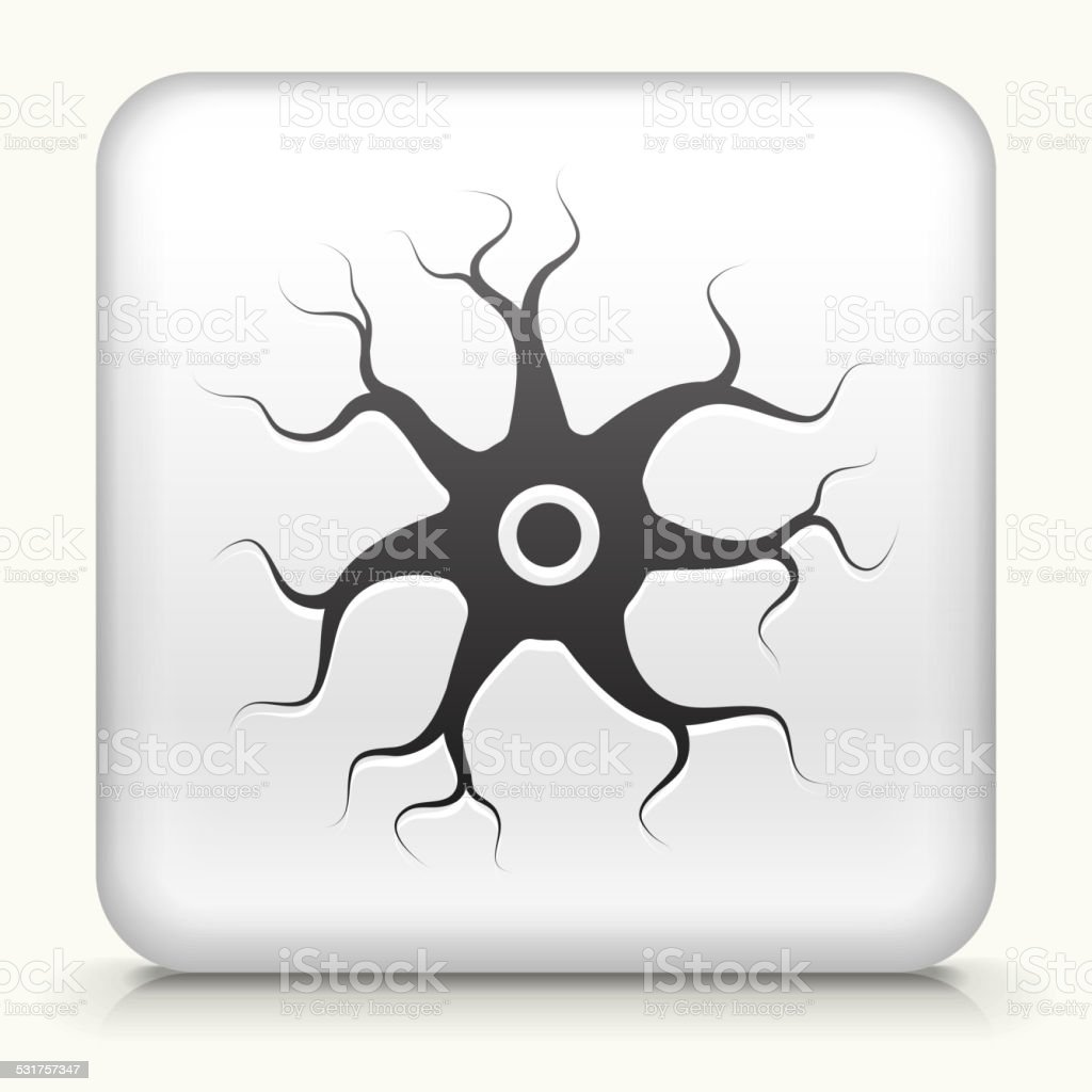 Square Button with Nerve Cell royalty free vector art vector art illustration