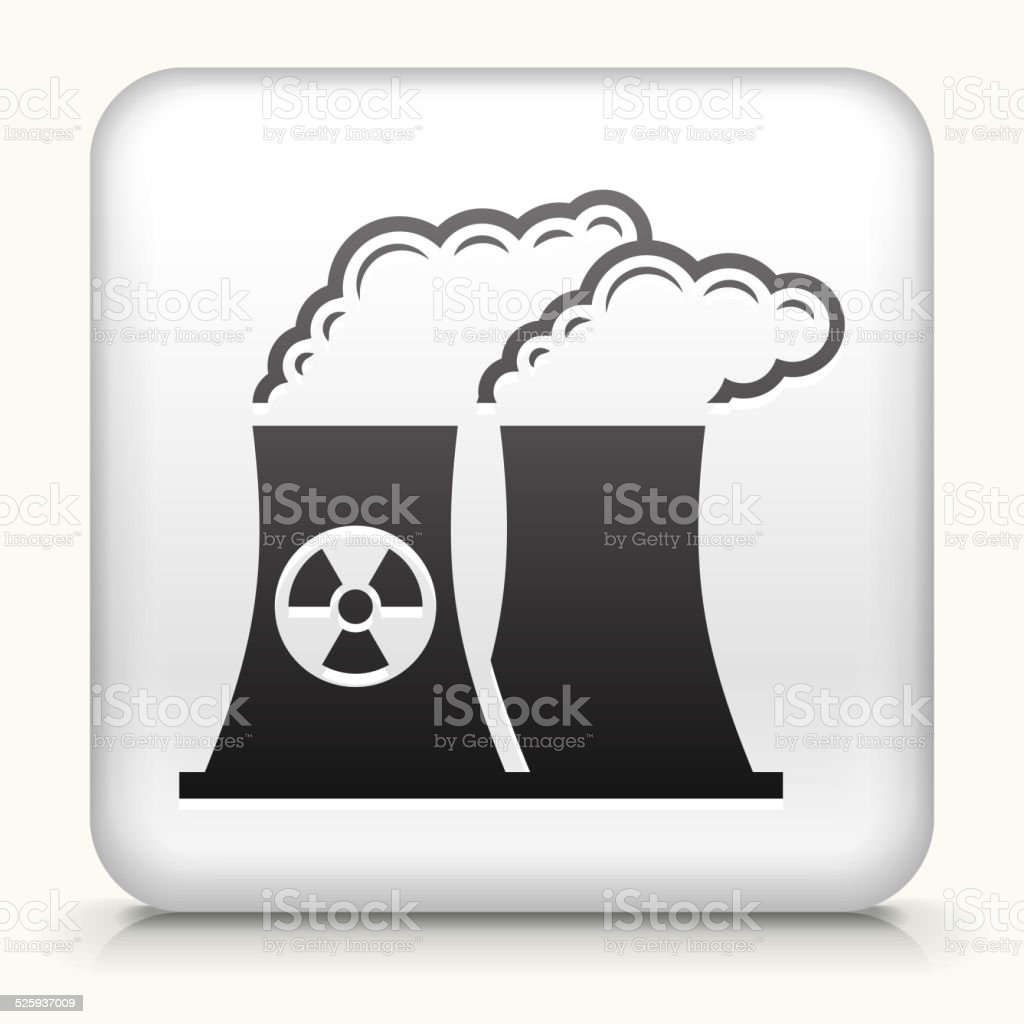 Square Button with Nuclear Plant vector art illustration
