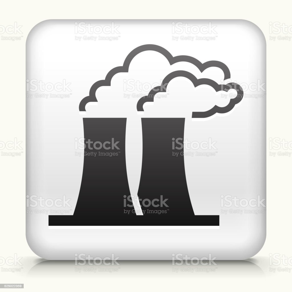 Square Button with Nuclear Reactor vector art illustration