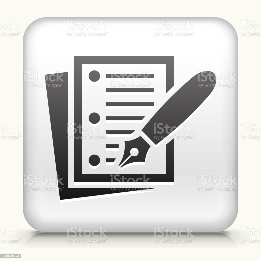 Square Button with Paper & Ink Pen royalty-free square button with paper ink pen stock vector art & more images of 2015