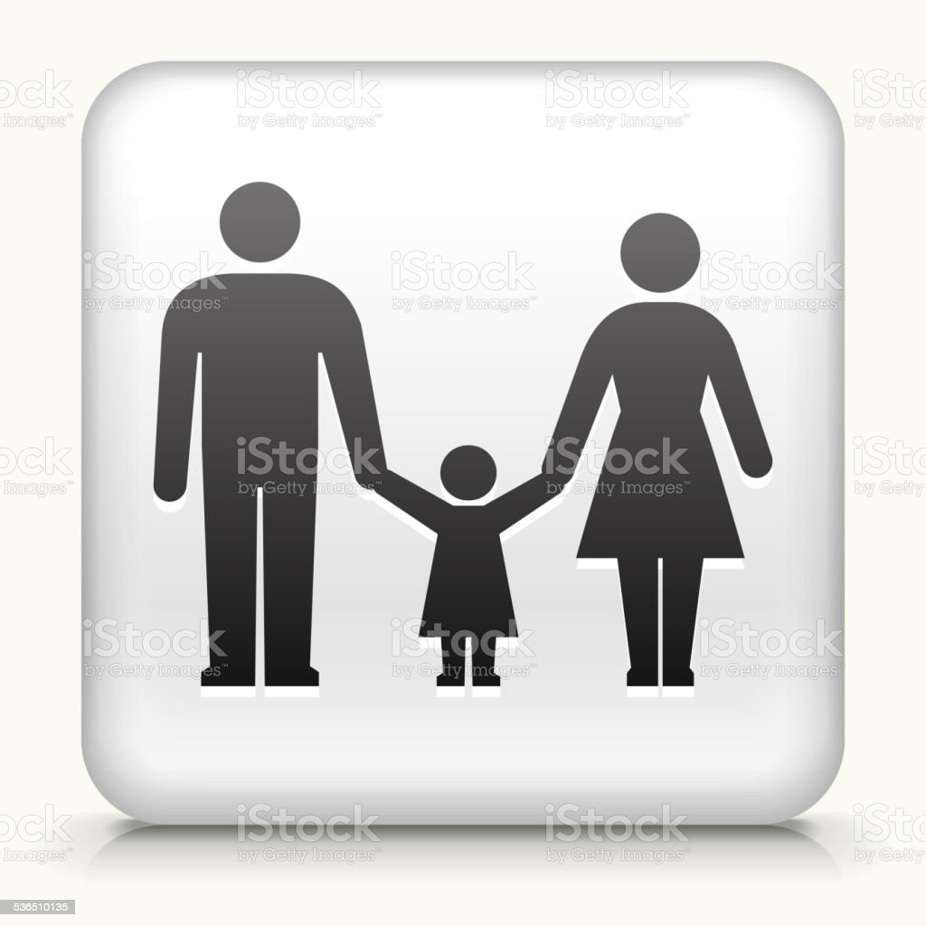 Square Button with Parents and Daughter vector art illustration