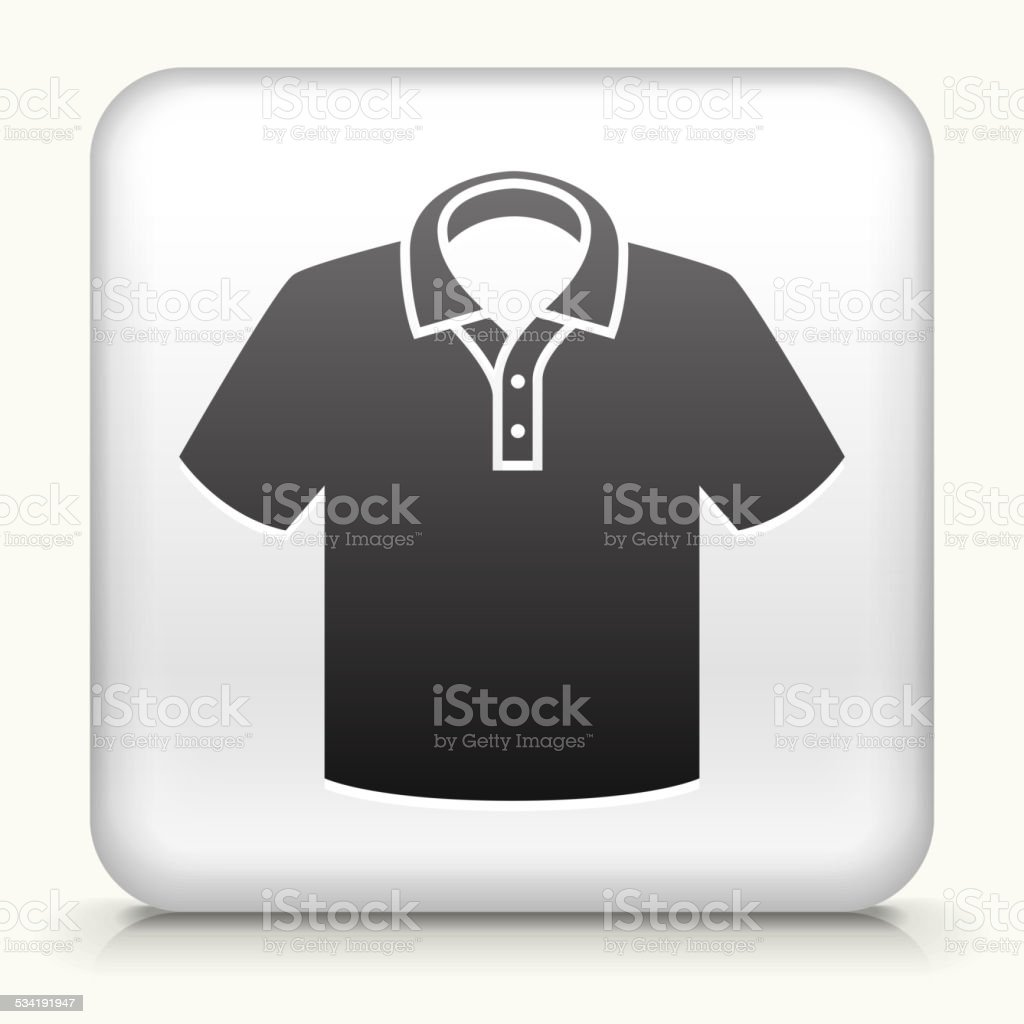Square Button with Polo Shirt vector art illustration