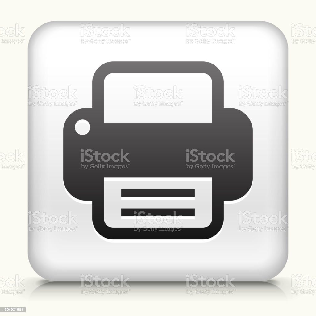 Square Button with Printer royalty free vector art vector art illustration
