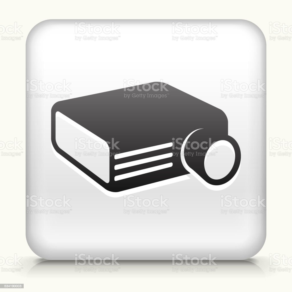 Square Button with Projector royalty free vector art vector art illustration