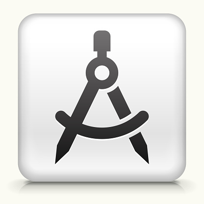 Square Button with Protractor Compass royalty free vector art