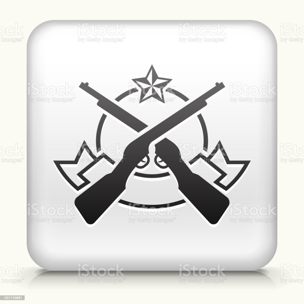 Square Button with Rifle Emblem royalty free vector art vector art illustration