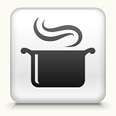 Square Button with Steam Pot royalty free vector art