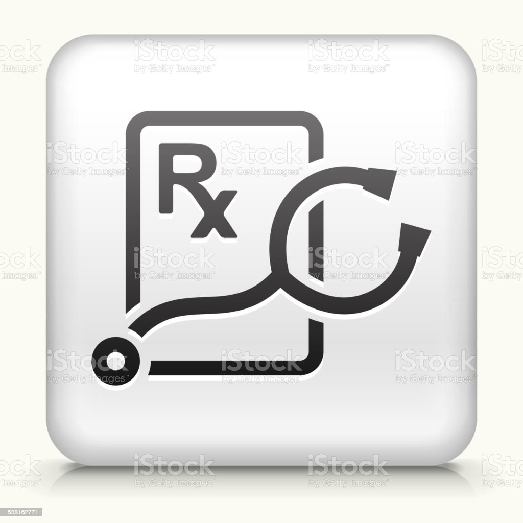 Square Button With Stethoscope And Rx Prescription Stock Vector Art