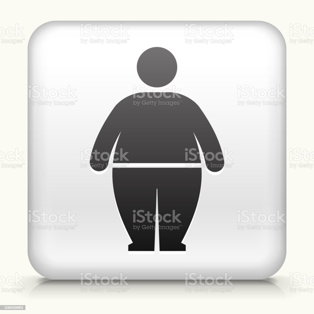 Square Button with Stick Figure and Weight Gain vector art illustration
