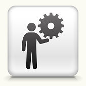 White Square Button with Stick Figure Holding Gear
