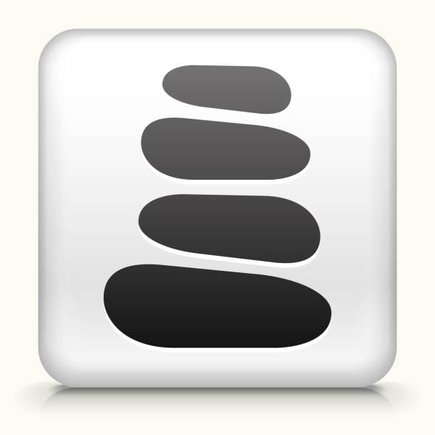 square knopf mit stein weg interface-symbol - steinpfade stock-grafiken, -clipart, -cartoons und -symbole