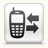 White Square Button with Telephone Icon