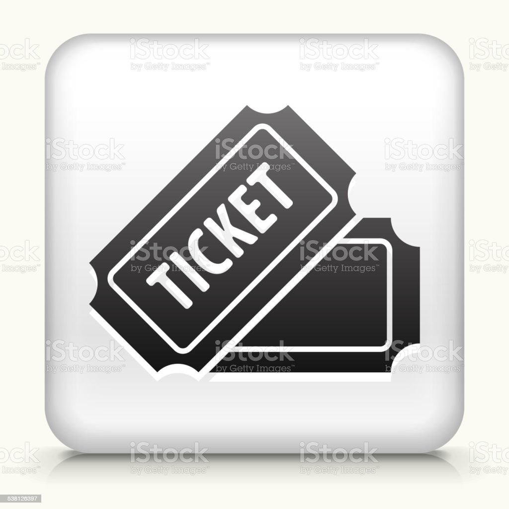 Square Button with Ticket royalty free vector art vector art illustration