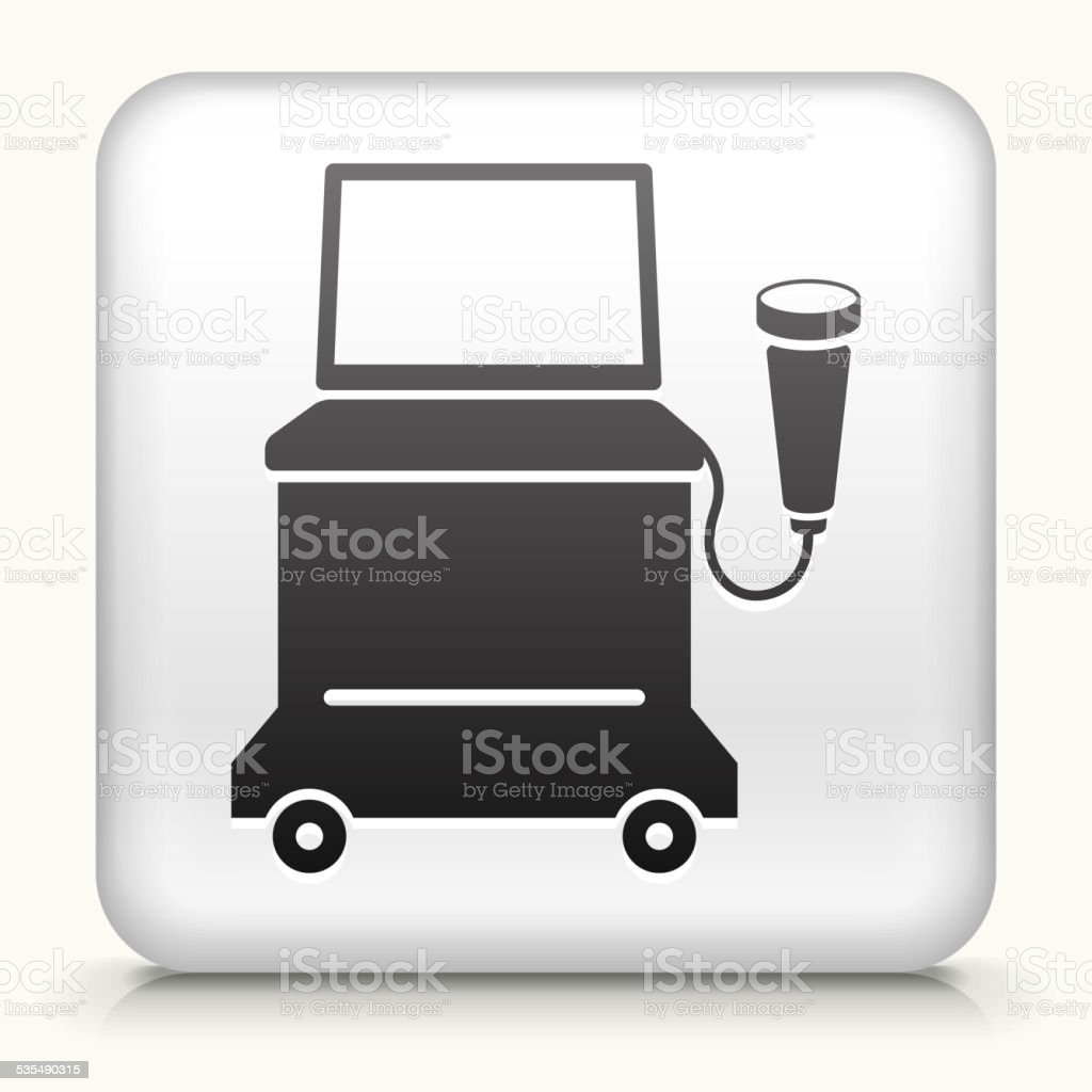 Square Button with Ultrasound Machine vector art illustration