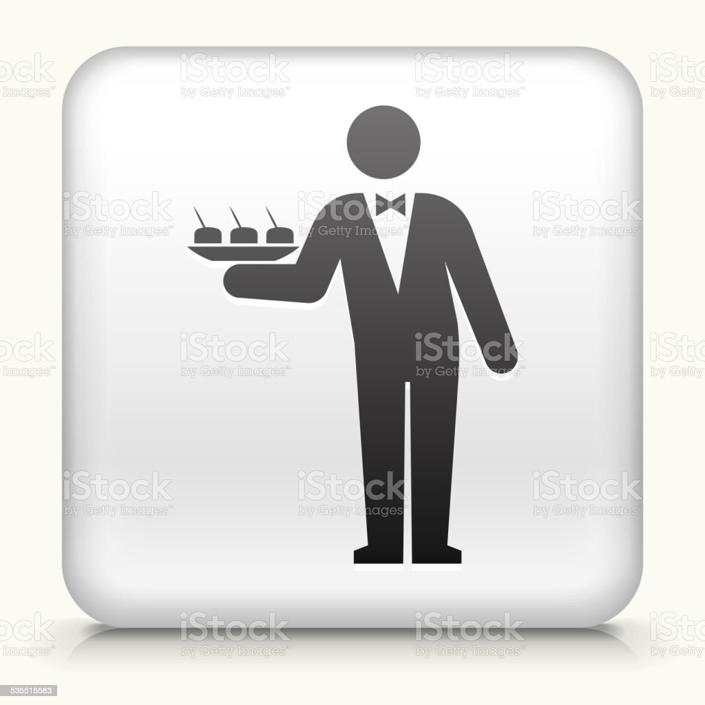 Square Button with Waiter royalty free vector art vector art illustration
