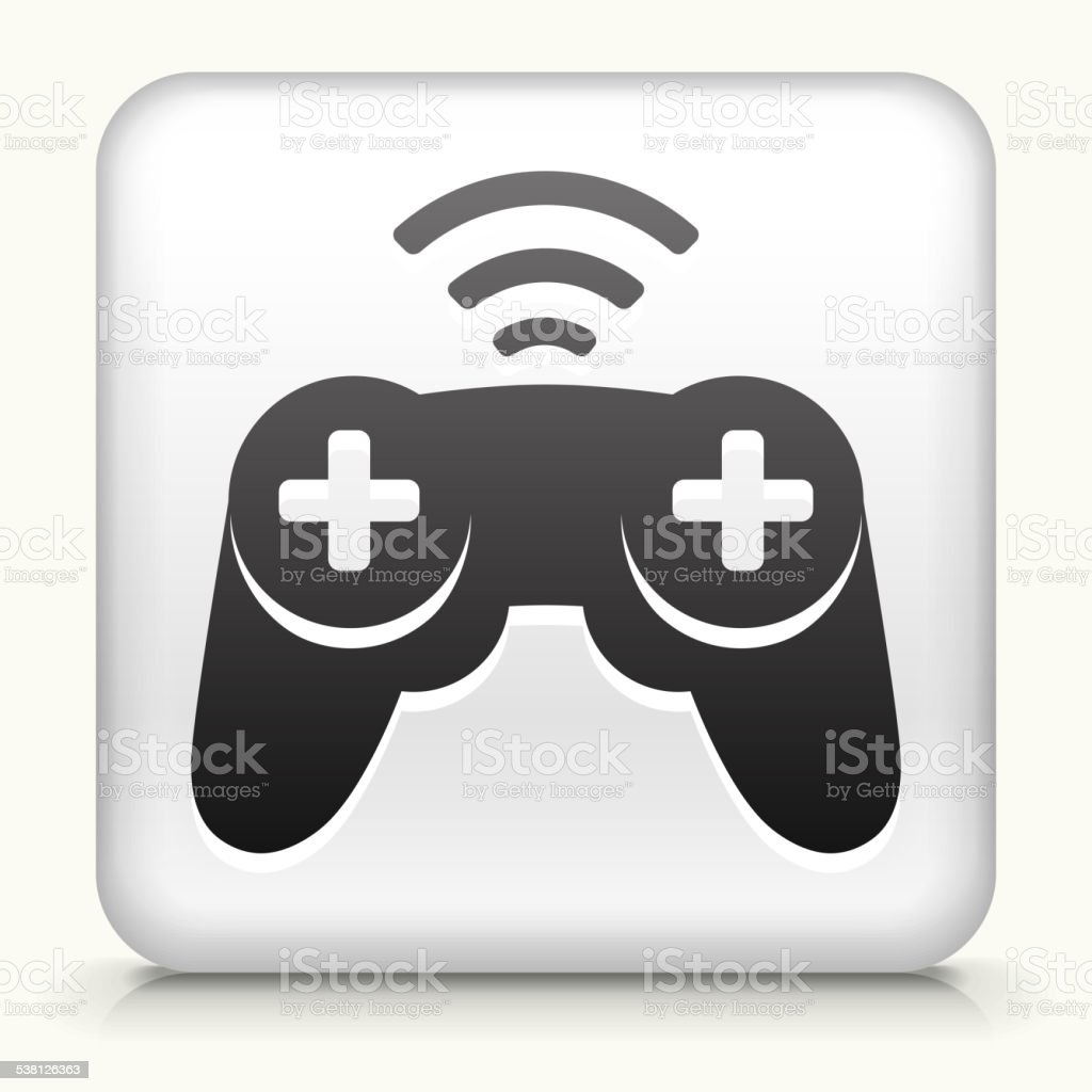 Square Button with Wireless Game Controller vector art illustration