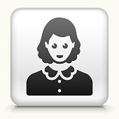 White Square Button with Female Face Icon