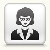 White Square Button with Female Face Icon