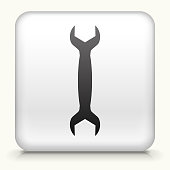 Square Button with Wrench royalty free vector art
