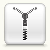 Square Button with Zipper royalty free vector art