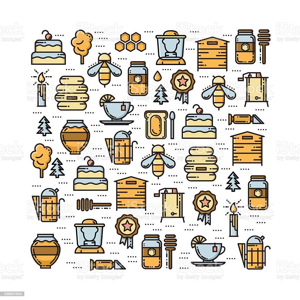 M carte avec des éléments rucher fine ligne icônes ensemble de couleur - Illustration vectorielle