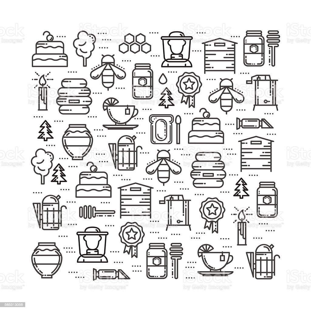 Square card with apiary elements thin line icons set - Illustration vectorielle