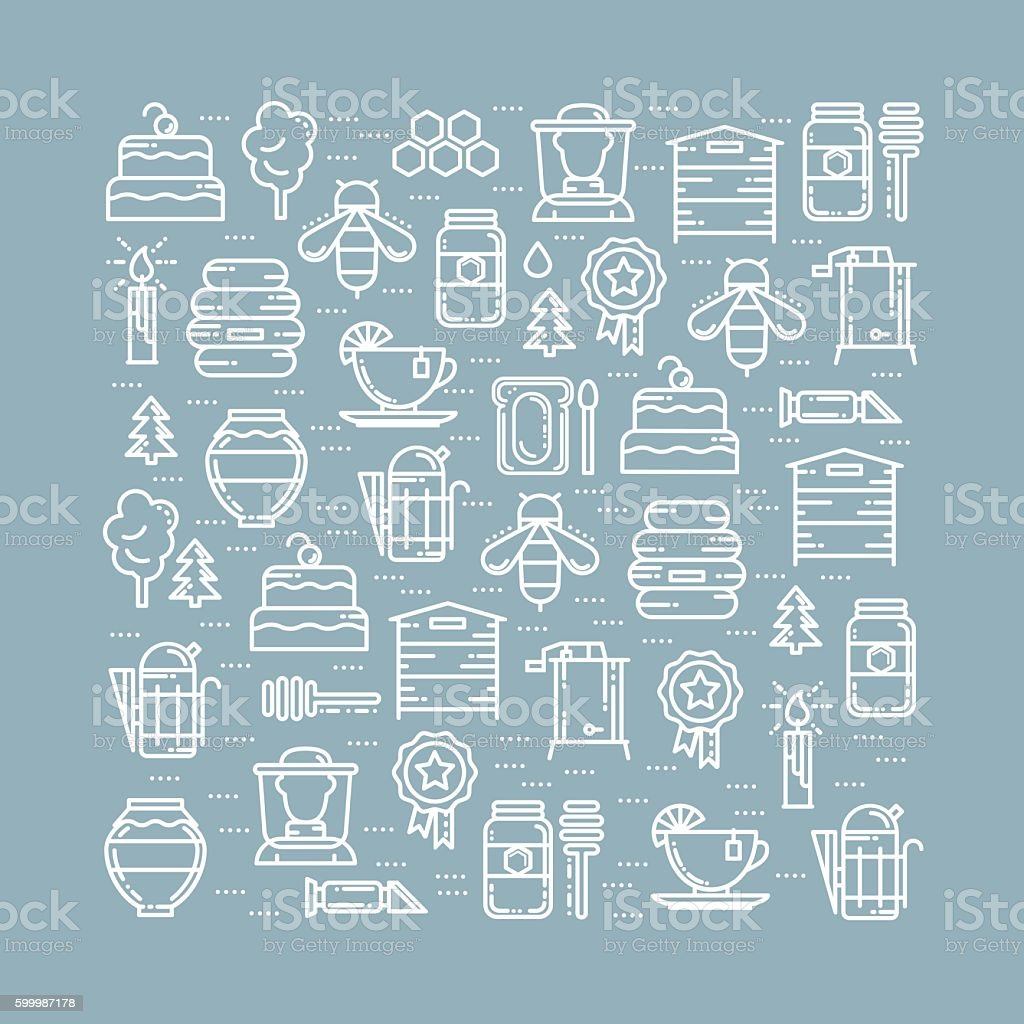 Square card with apiary thin line icons set vector art illustration