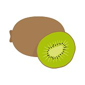 Square card with hand drawn kiwi fruit vector illustration. Sliced and whole kiwi on the white background.