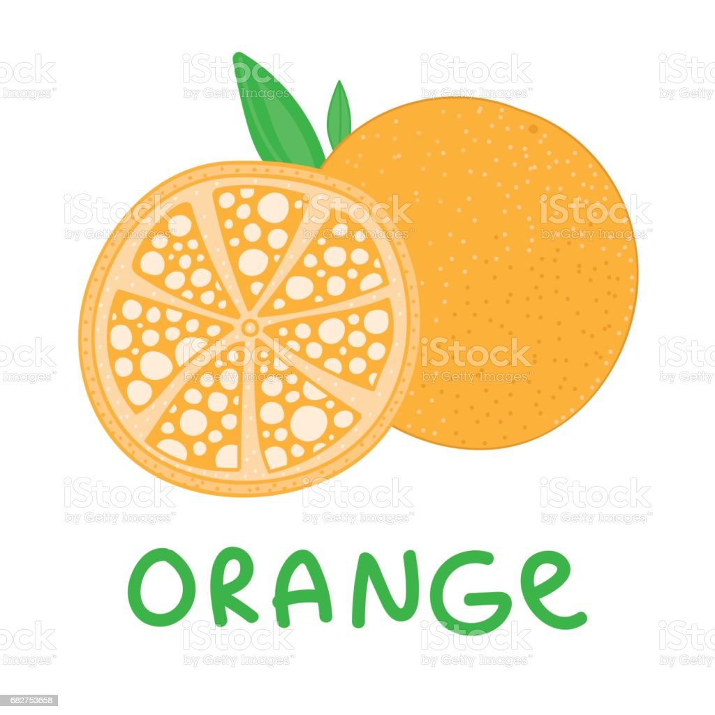 Square Card With Hand Drawn Orange Fruit Vector Abstract