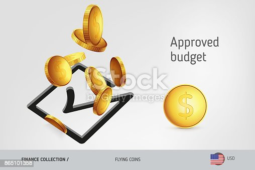 istock Square check mark icon with flying United States Dollar coins, finance concept. Vector illustration for print, websites, web design, mobile app, infographics. 865101358
