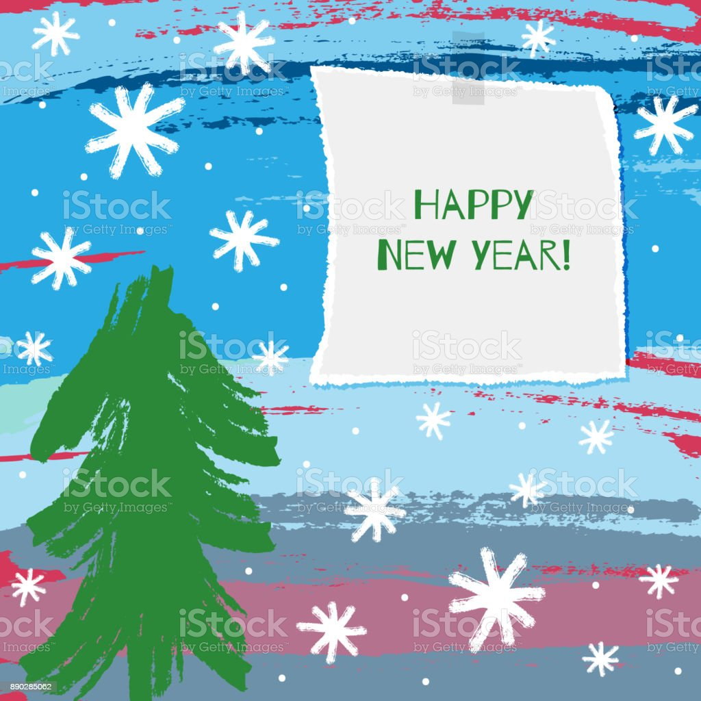 Square children's Christmas card. Drawing by hand and note Happy New Year! Watercolour, sketch, paint, grunge. vector art illustration