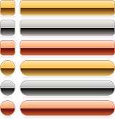 Metal gold bronze silver glossy square circle rounded rectangle shapes icon web buttons with shadow and reflection on white background.
