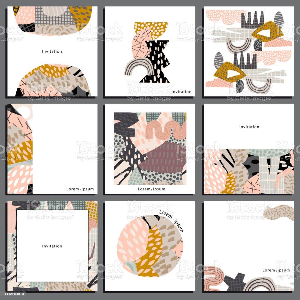 9 Quadratische Collagevorlage Für Visitenkarte Und Einladung