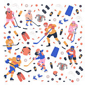 Square concept illustration with young ice hockey players, equipment and accessories. Flat vector art for your project