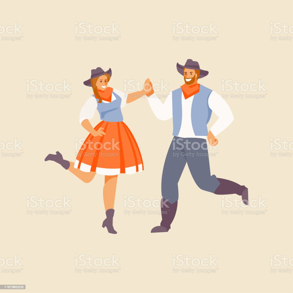 People in Western costumes perform traditional American dance. Vector...