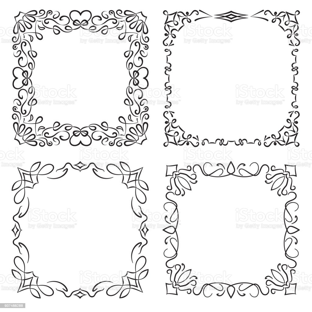 ba38ff235bb5 square decorative frames in vintage style royalty-free square decorative  frames in vintage style stock