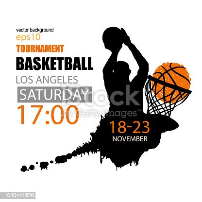 Square design for basketball, grunge style, hand drawing, spray, ink. Sports background, template for social media.