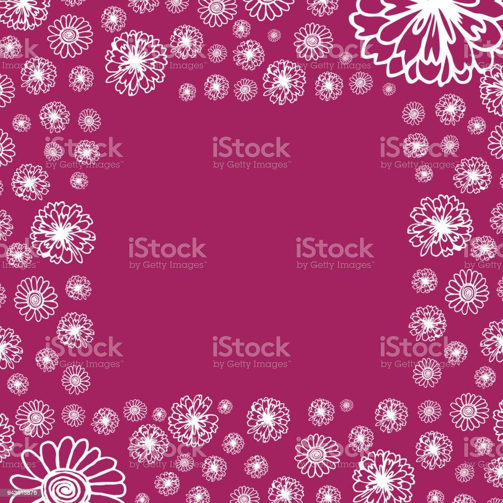 Ein Quadrat Doodle Rahmen Blumen Mit Platz Für Ihren Text Vektor ...