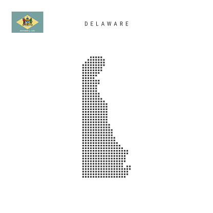 Square dots pattern map of Delaware. Dotted pixel map with flag. Vector illustration