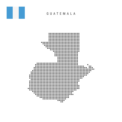 Square dots pattern map of Guatemala. Guatemalan dotted pixel map with flag. Vector illustration