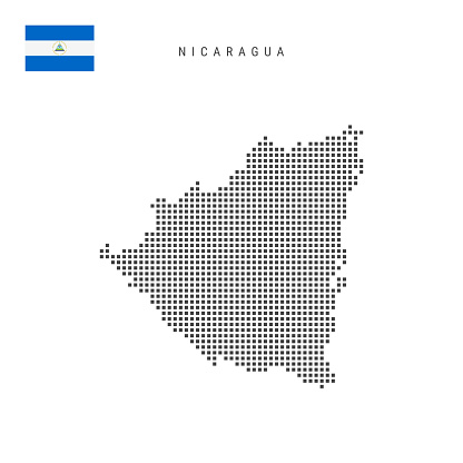 Square dots pattern map of Nicaragua. Nicaraguan dotted pixel map with flag. Vector illustration