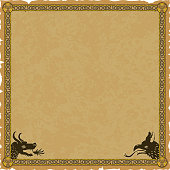 Ornate medieval fantasy frame with a knot pattern, a dragon head and a griffin head on a square parchment background.