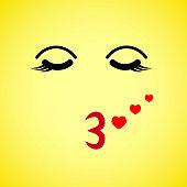 Square emoji. flat cartoon style. Face funny backgound. Vector illustration